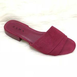Zara Monochrome Slide Slip On Sandals Pink